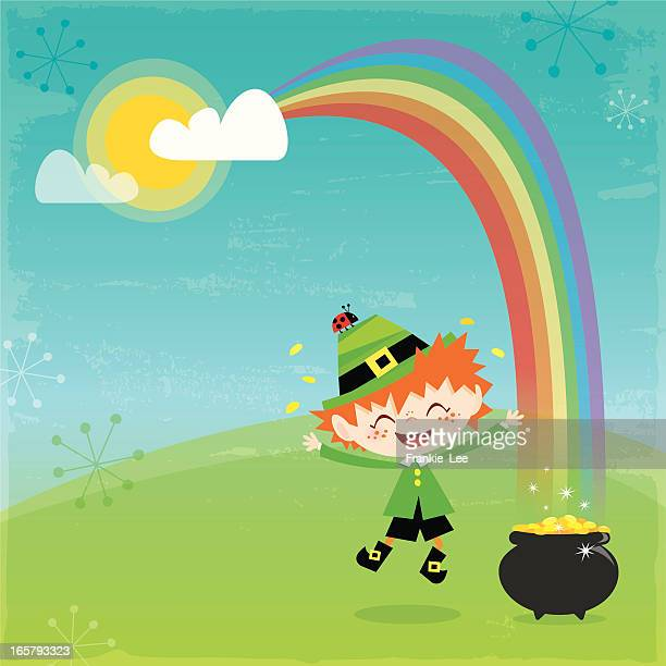 leprechaun and his gold - st. patrick's day stock illustrations, clip art, cartoons, & icons
