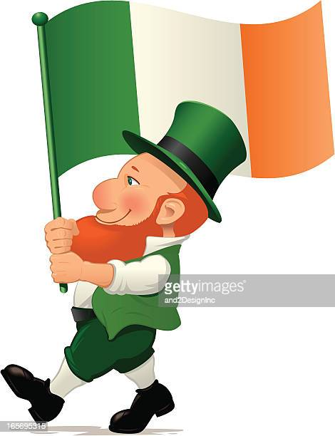 ilustrações de stock, clip art, desenhos animados e ícones de duende carregar bandeira da irlanda - desfile