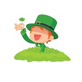 Leprechaun Found a Four-Leaf Clover for St. Patrick's Day