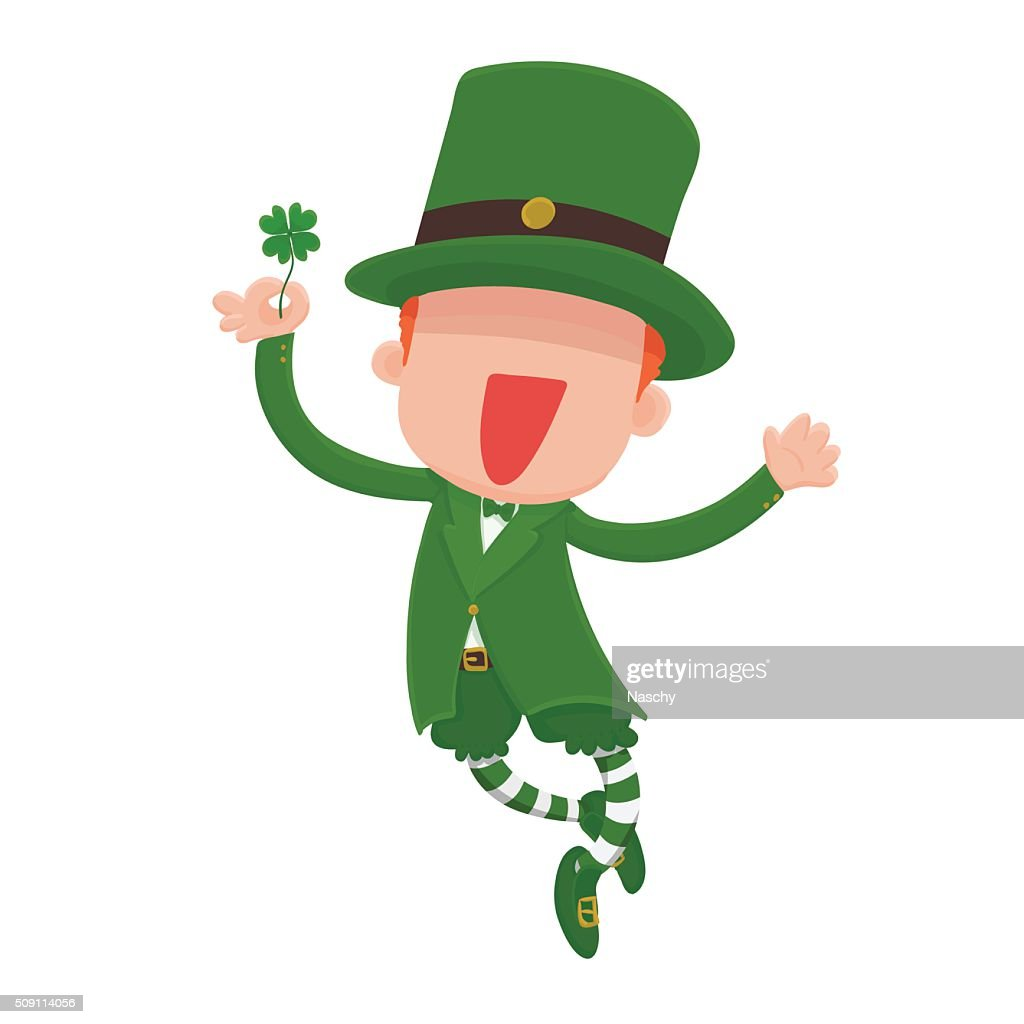 Leprechaun Holding a Four-Leaf Clover for St. Patrick's Day.