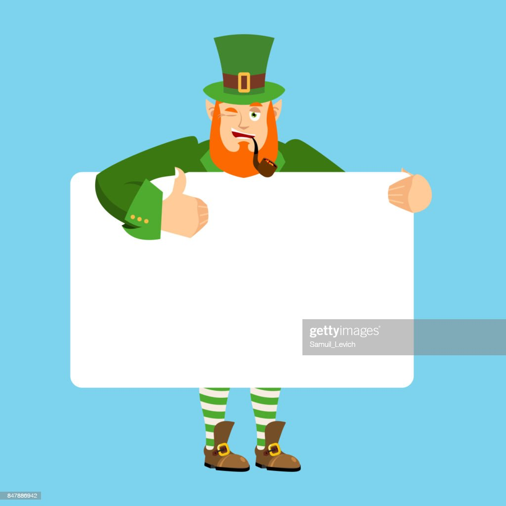 Leprechaun holding banner blank. gnome and white blank. magic grandfather joyful emotion. St.Patrick Day and place for text. Vector illustration