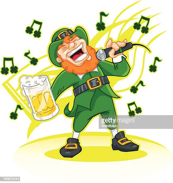 leprechaun karaoke - karaoke stock illustrations