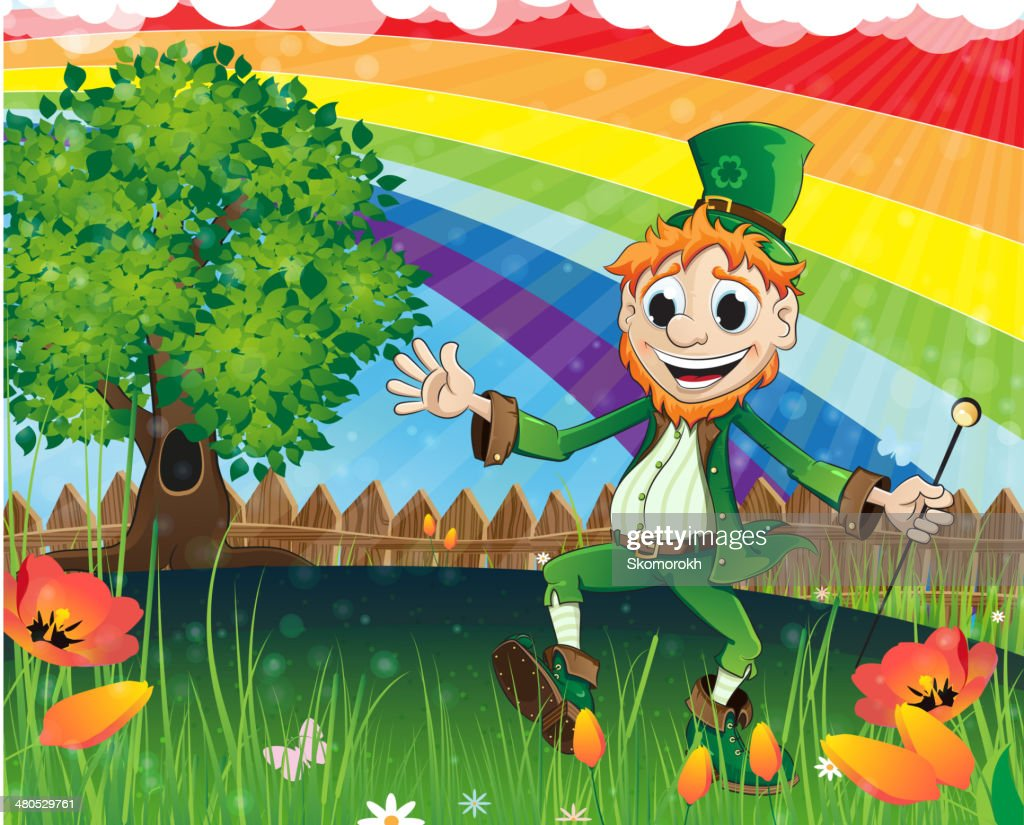 Leprechaun on a spring meadow : Vectorkunst