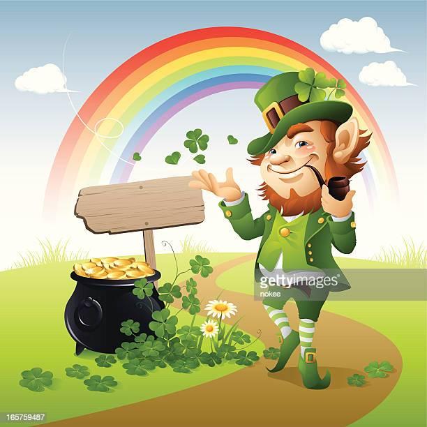 leprechaun on the road - st. patrick's day stock illustrations, clip art, cartoons, & icons