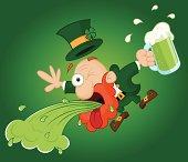 Leprechaun Throwing Up on St. Patrick's Day