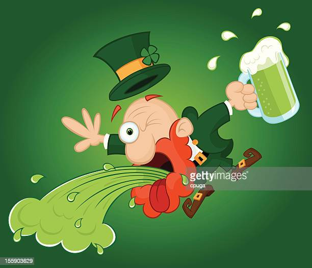 leprechaun throwing up on st. patrick's day - vomit stock illustrations