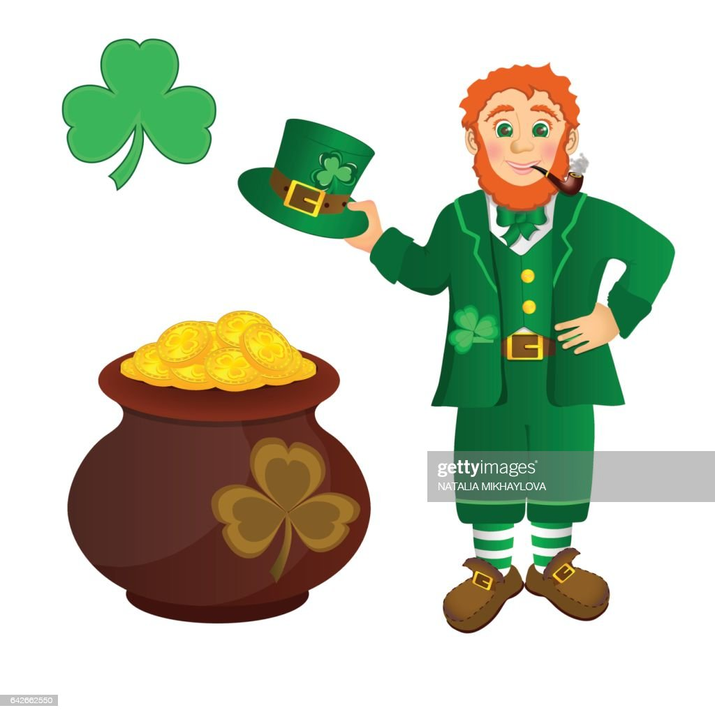 Leprechaun, treasure, shamrock to St Patricks day