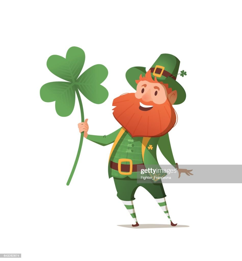 Leprechaun with clover for good luck.