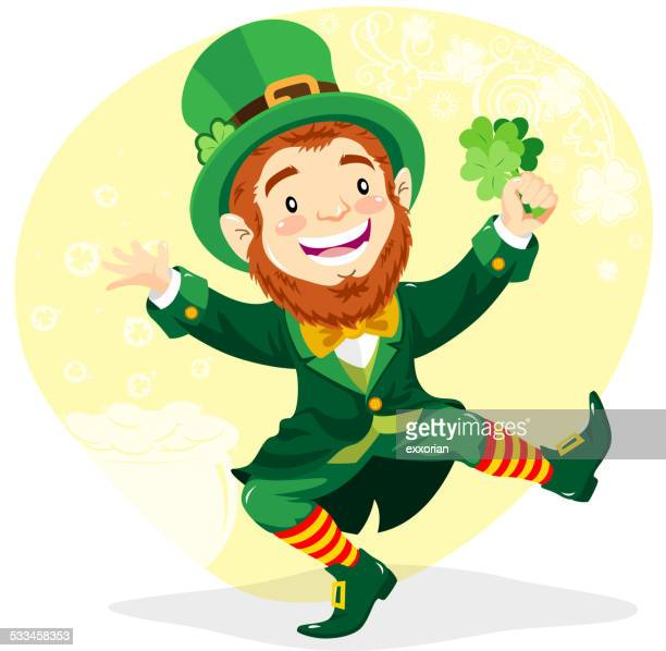 leprechaun with clover - st. patrick's day stock illustrations, clip art, cartoons, & icons