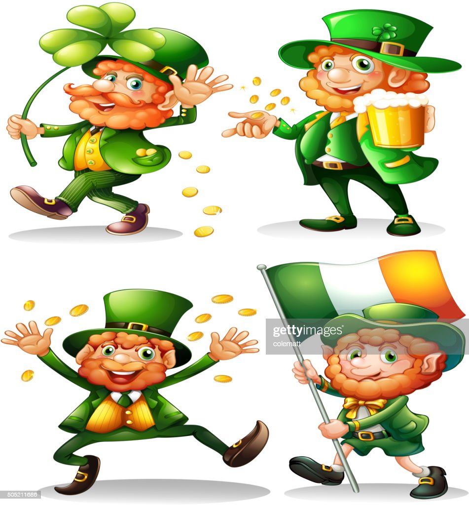 Leprechaun with green leaves and gold