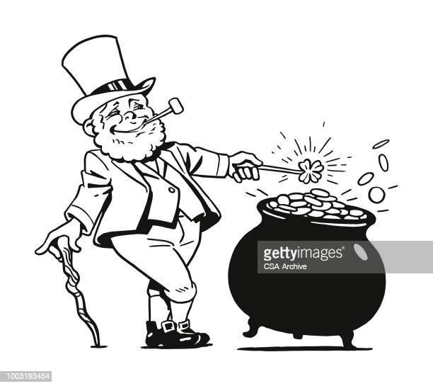 leprechaun with pot of gold - cauldron stock illustrations, clip art, cartoons, & icons