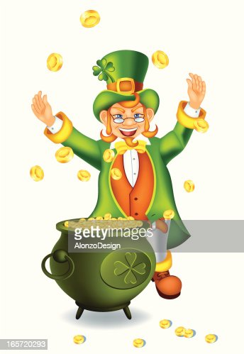 leprechaun with pot of gold vector art   getty images