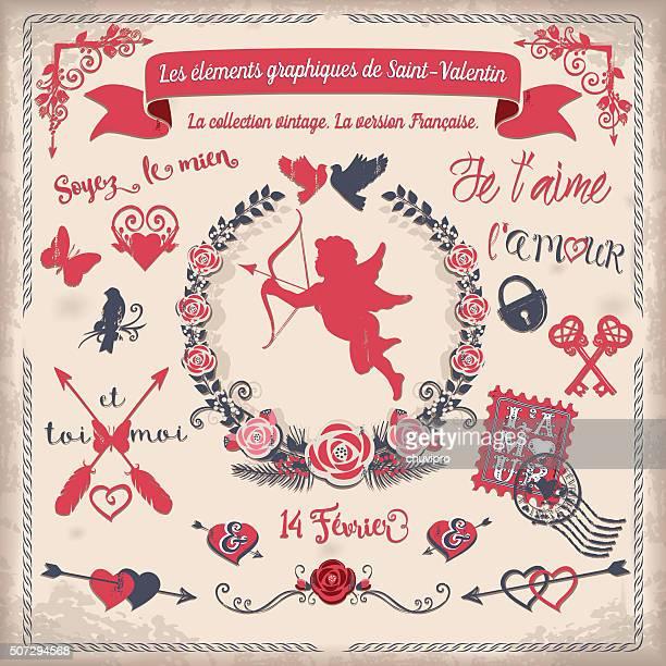 ilustraciones, imágenes clip art, dibujos animados e iconos de stock de les éléments graphiques de la san valentín - i love you