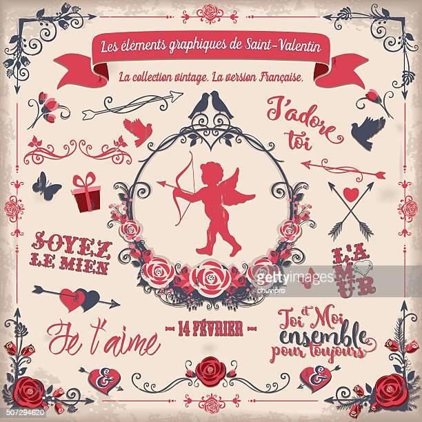 illustrations, cliparts, dessins animés et icônes de les éléments graphiques de saint-valentin - cupidon and saint valentin