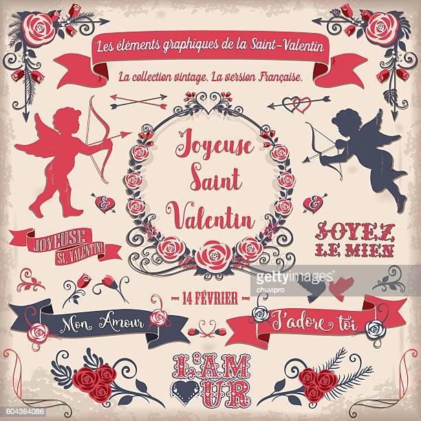 illustrations, cliparts, dessins animés et icônes de les éléments graphiques de la saint-valentin - cupidon and saint valentin