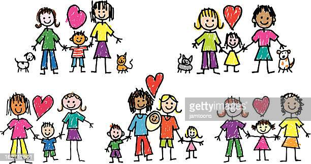 lesbian families - toddler stock illustrations, clip art, cartoons, & icons