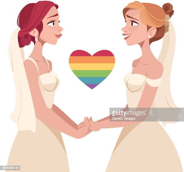 lesbian wedding - bisexuality stock illustrations, clip art, cartoons, & icons