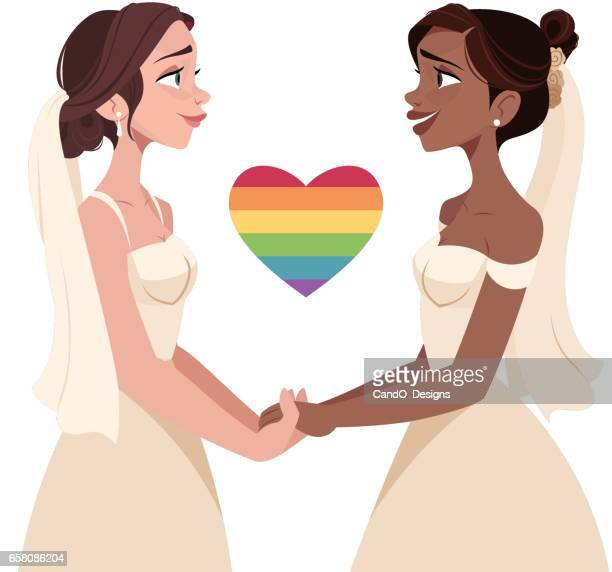 lesbian wedding - marriage equality stock illustrations, clip art, cartoons, & icons