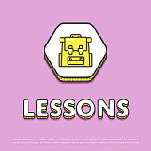 Lessons colour icon with school backpack