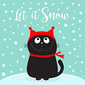 Let it snow. Black Cat kitten head face looking up. Kitty sitting on snowdrift. Red hat, scarf. Cute funny cartoon character. Merry Christmas. Flat design. Blue winter background with snow.