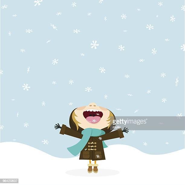 Lass es schneien. Kind isst eine Schneeflocke. Winter.