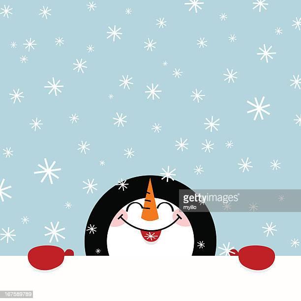 let it snow snowman happy illustration vector winter cute - snowman stock illustrations