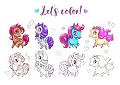 Let s color pony. Funny cute cartoon little chibi horses, colorful and contour pictures.