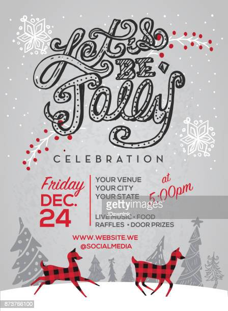 let's be jolly happy holidays greeting design - invitation stock illustrations