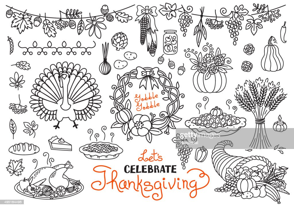 Let's celebrate Thanksgiving Day doodles set. Traditional symbols -