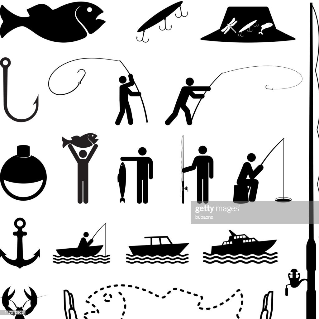 Let's go fishing black and white vector icon set