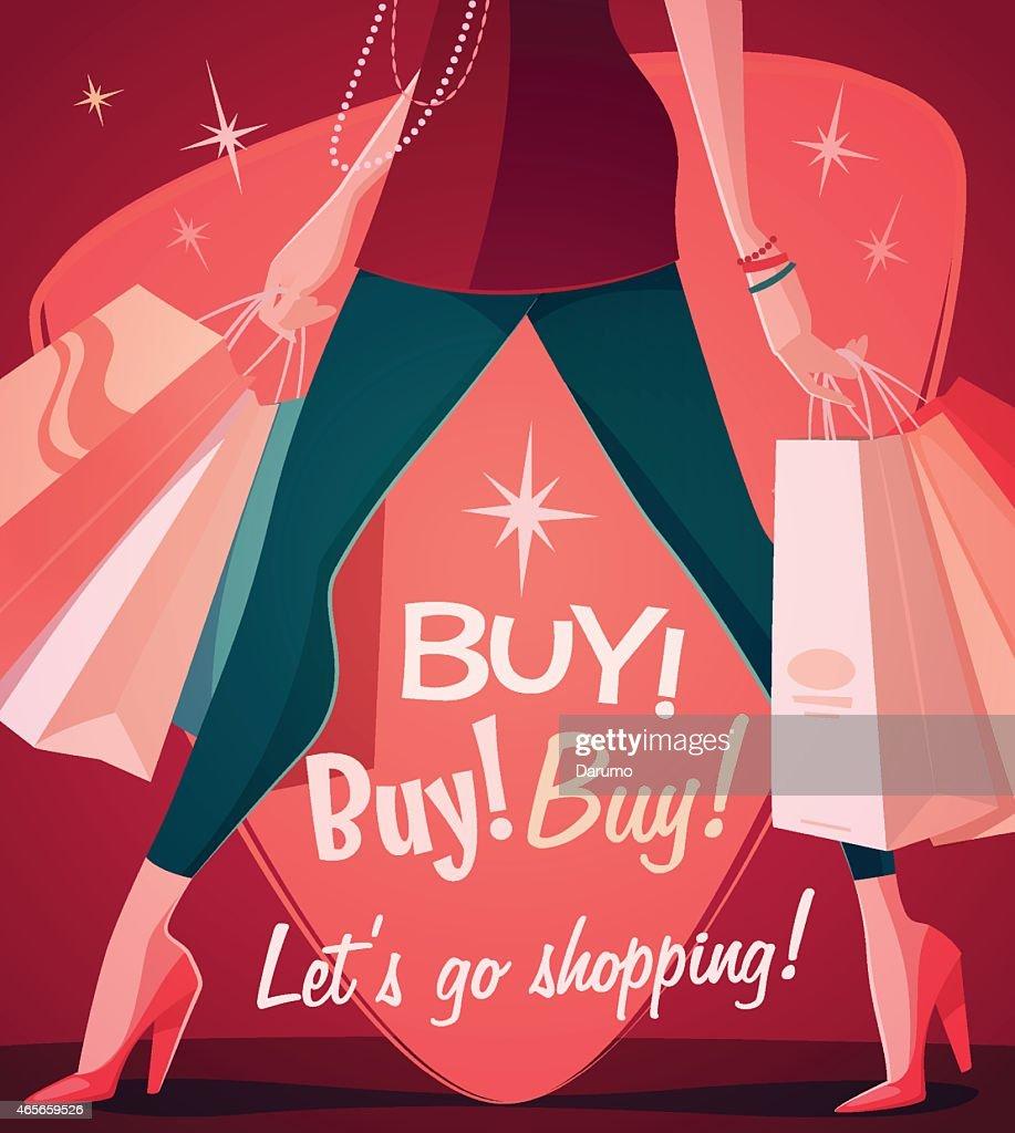 Let's go shopping! Vector illustration.