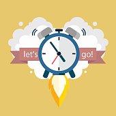 Lets go. Time to work. Clock soaring up. Vector Design