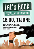 Let's rock festival poster. Vector illustration