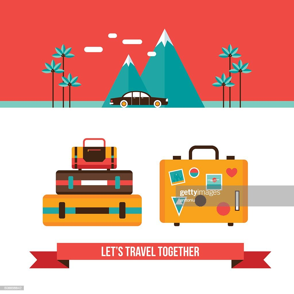Lets travel background with suitcases bag Summer vacation concept