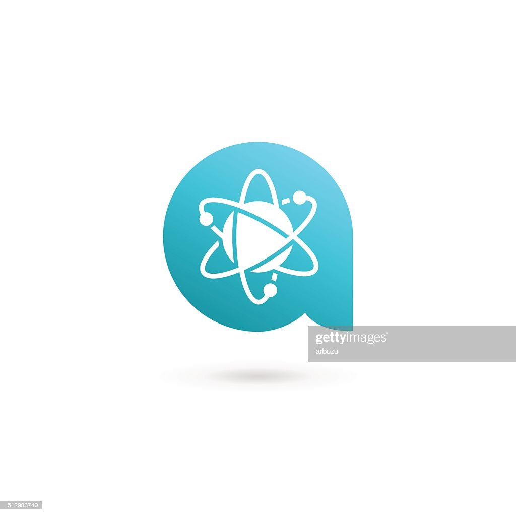 Letter A atom icon design template elements