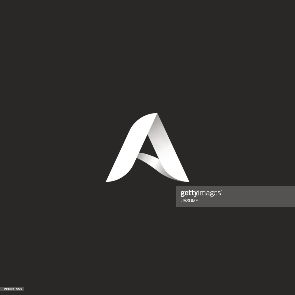 Letter A  black and white gradient style typography design template element. 3d ribbon identity icon.