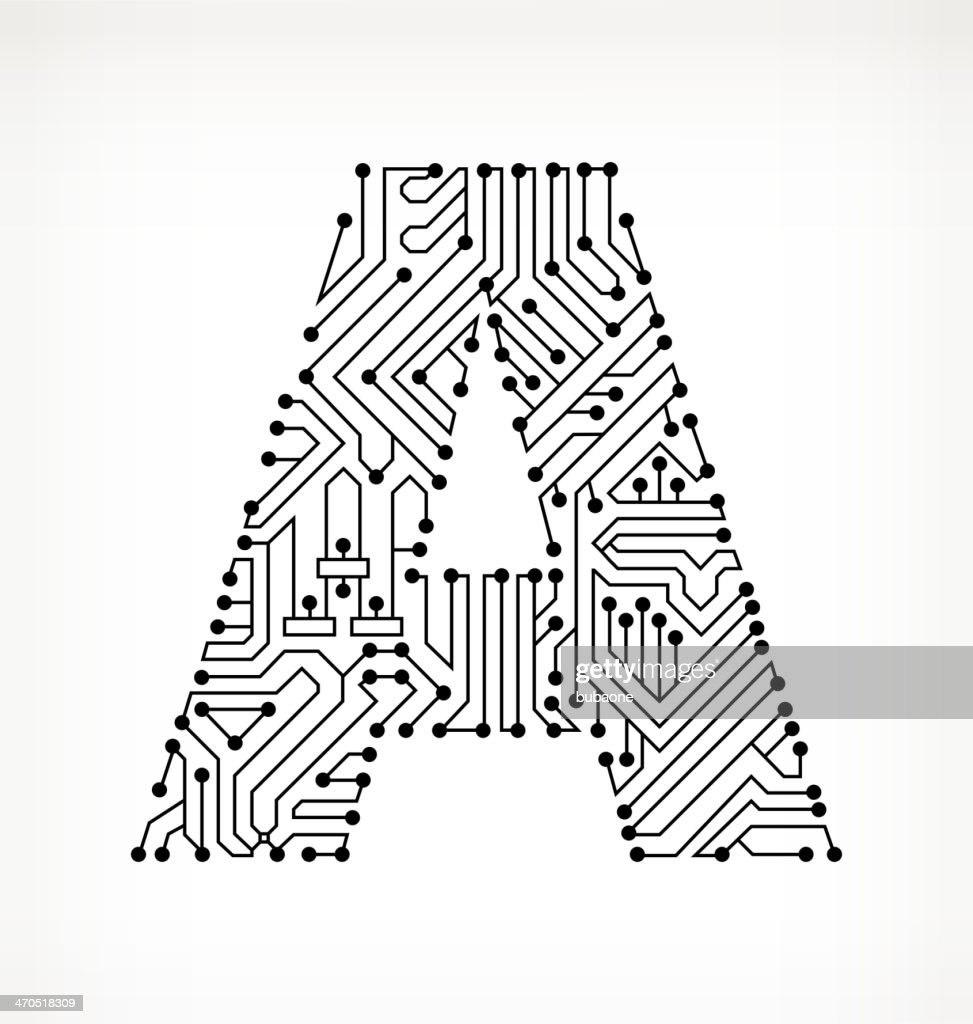 letter a circuit board on white background stock illustration