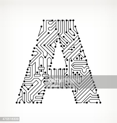 Letter A Circuit Board On White Background stock