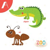 Letter A. Cute animals. Funny cartoon animals in vector