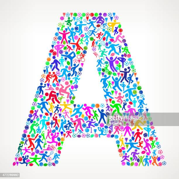 Letter A Fitness Sports and Exercise pattern vector background