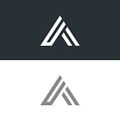 Letter A  icon design template elements