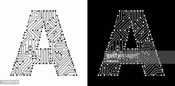 letter a in black and white circuit board font - letter a stock illustrations