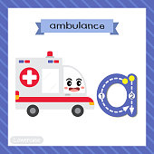 Letter A lowercase  tracing. Ambulance Car