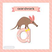 Letter A lowercase tracing. Walking Aardvark