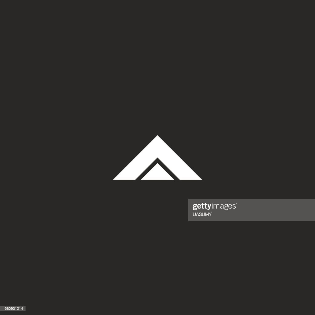 Letter A  mockup, black and white two triangles geometric shape, design element business card emblem identity, delta icon