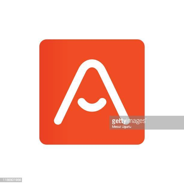 letter a vector line sign design. - letter a stock illustrations