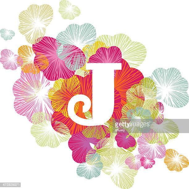 ilustrações de stock, clip art, desenhos animados e ícones de j letra do alfabeto floral iniciais maiúsculas - letraj