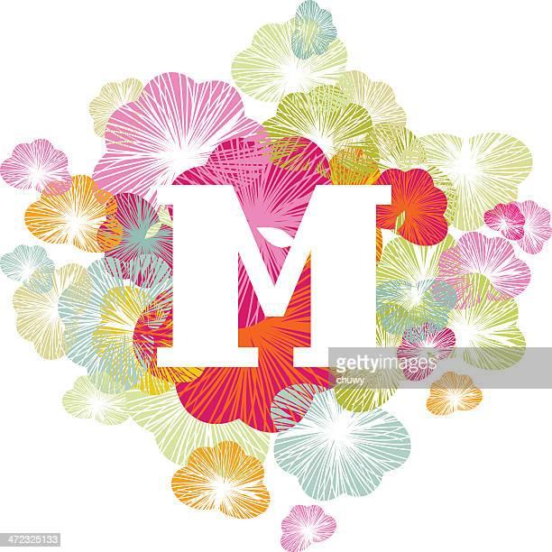 m letter alphabet initial uppercase floral - letter m stock illustrations, clip art, cartoons, & icons