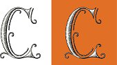 C, Letter, Alphabet, Type, Retour du rétro, lettrine, circus