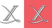X, Letter, Alphabet, Type, Retour du rétro, lettrine, monogram